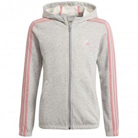 Adidas Chaqueta Con Capucha Essentials 3 Bandas Gris